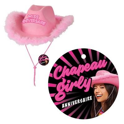 21328 - Chapeau Girly Rose Joyeux Anniversaire