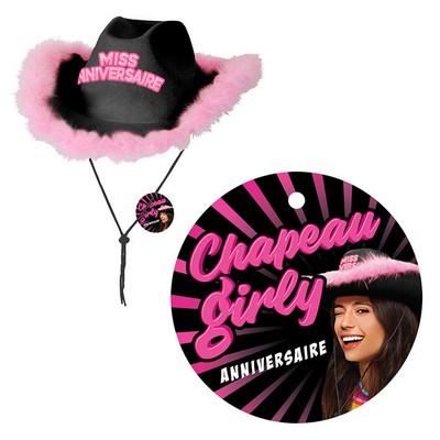 21489 - Chapeau Girly Noir Joyeux Anniversaire